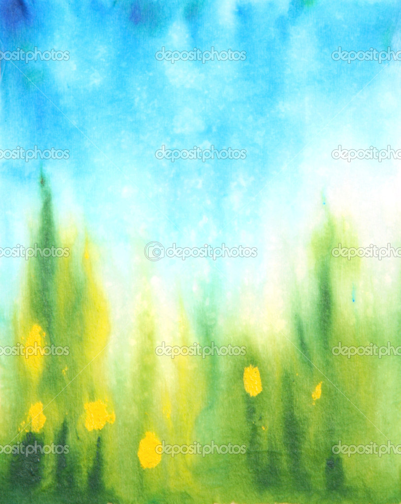 green grass blue sky flowers summer abstract hand drawn watercolor background blue sky green grass and yellow flowers